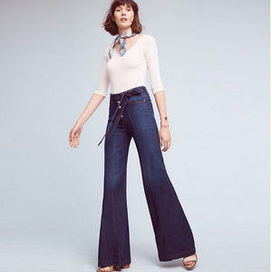 7FAM Retro high-waist belted palazzo jeans — NWOT